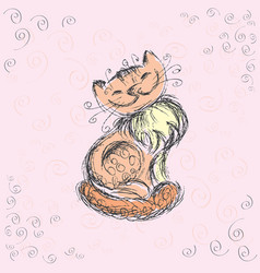 cute cat hand drawing vector image
