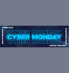cyber monday neon typography banner poster or vector image