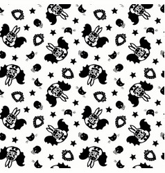 Day dead bat bunny pattern vector