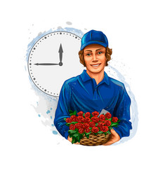 Delivery boy flower vector