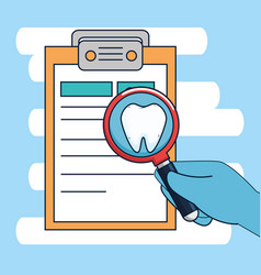 Dentistry diagnosis with medicine treatment and vector