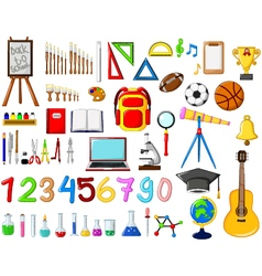 Different kinds of School equipment cartoon vector