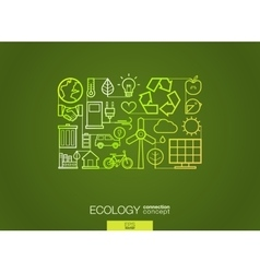 Ecology integrated thin line symbols Modern vector image