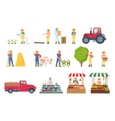 Farmer work agriculture set vector