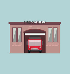 fire station building exterior with fire truck in vector image