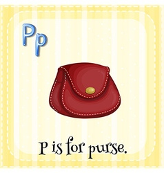 Flashcard letter P is for purse vector