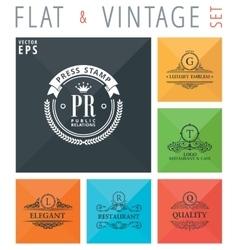 Flat and vintage elements icons vector