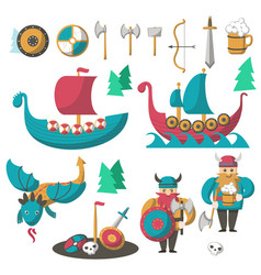 Flat vikings flying dragon and longships vector