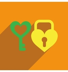 Flat web icon with long shadow key lock heart vector