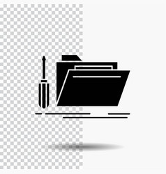 Folder tool repair resource service glyph icon on vector