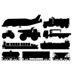 freight shipping set cargo shipping vehicle vector image