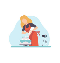 girl baking and decorating cake young woman vector image