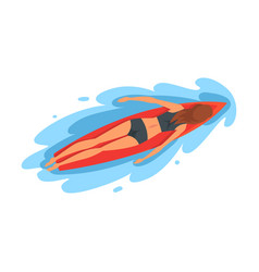 girl surfer character lying on surfboard vector image