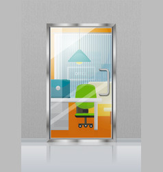 Glass transparent door in grey wall with nameplate vector