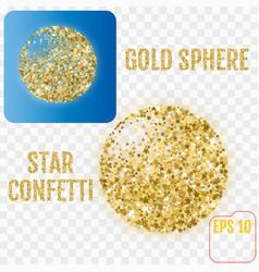 gold sphere modern golden stars confetti sphere vector image