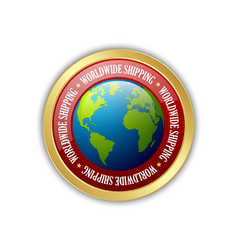 Golden worldwide shipping badge isolated on white vector