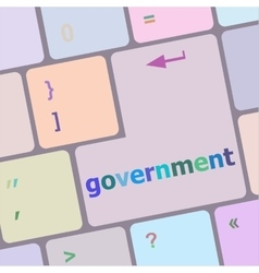 Goverment word on keyboard key notebook computer vector