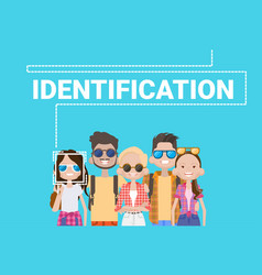 Group of people biometric identification face vector
