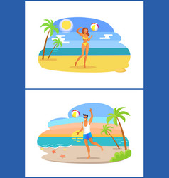 guy and girl playing with ball at coastline tropic vector image