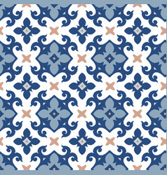 hand drawn blue moroccan seamless pattern vector image