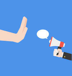 Hand forbid business with megaphone vector