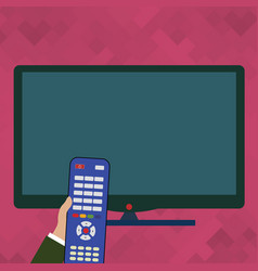 Hand holding computer remote control infront of vector