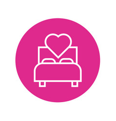 Happy valentines day heart in bed block and line vector
