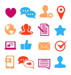 Icons set for social network and community sites vector