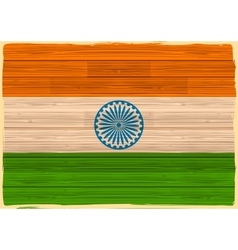 Indian Flag with wooden texture vector image