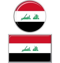 Iraqi round and square icon flag vector