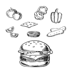 Isolated cheeseburger with fresh ingredients vector image