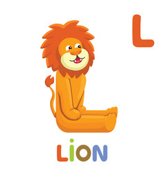 l is for lion letter l lion cute animal alphabet vector image