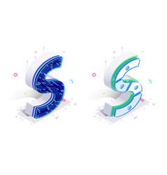 letters s with social networks elements vector image