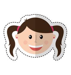 little girl character icon vector image