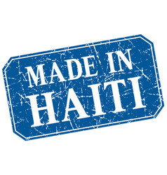 Made in haiti blue square grunge stamp vector