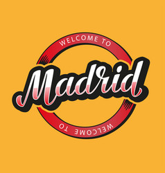 madrid hand lettering vector image