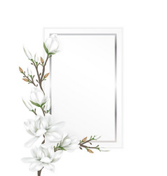 Magnolia branches on paper card vector