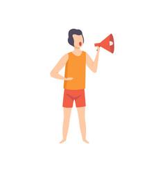 Male lifeguard shouting into a megaphone vector