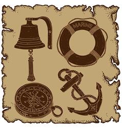 Marine theme icons set vector