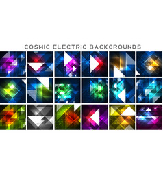 mega collection of cosmic electric backgrounds vector image