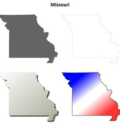 Missouri outline map set vector image