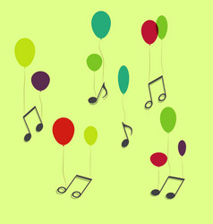 Musical notes hanging on ballons vector