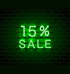 neon 15 sale text banner night sign vector image