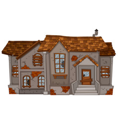 Old brick house with brown roof vector