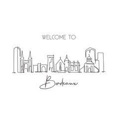 one single line drawing bordeaux city skyline vector image