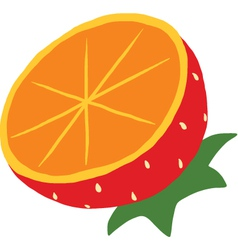 Orange mixed with Strawberry icon vector image
