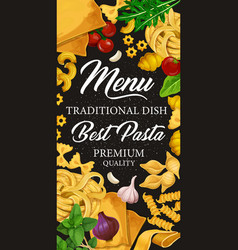 Pasta menu for italian cuisine or pastry dishes vector