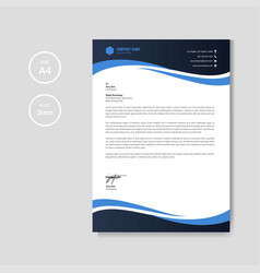 professional blue letterhead graphic template vector image