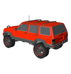 red off road vehicle on white background vector image