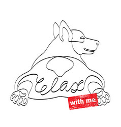 relax with me tshirt print wiht lying corgi dog vector image